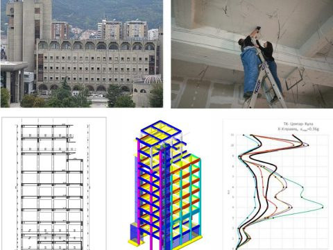 Project: Study of existing state and interventions for improvement of the seismic resistance of the structures of Makedonski Telekom buildings in Skopje and Probishtip, 2018 – 2020. (Investor: Makedonski Telekom A.D., Skopje).
