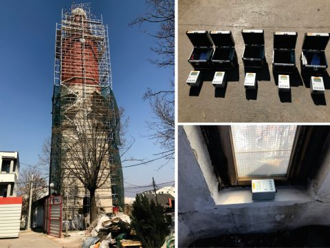 Project: Ambient vibration measurements, Clock Tower, Sultan Murat Mosque in Skopje, 2019 (Investor: Karahan, Turkey).