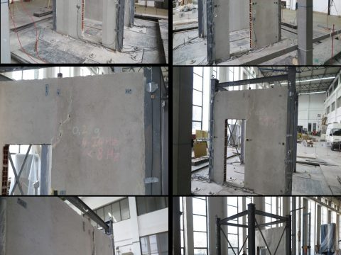 """Project: Out of plane shake table testing of brick masonry infill walls with and without """"seismic"""" wallpaper, 2018 (Investor: Covestro Deutschland AG, Germany)"""
